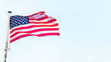 4th of July banner with USA flag fluttering on the wind. - 208210518