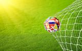 Soccer ball flying to goal - 208214540