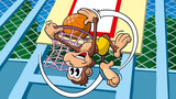Affe spielt Basketball, Cartoon, Sportcartoon, Tiercartoon - 208215354