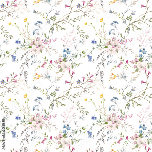 Watercolor floral pattern - 208218519