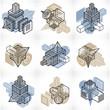 Abstract vectors, 3D simple geometric shapes set. - 208218952