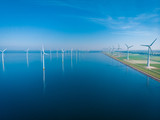 windmill park offshore and onshore windmill farm in the netherlands