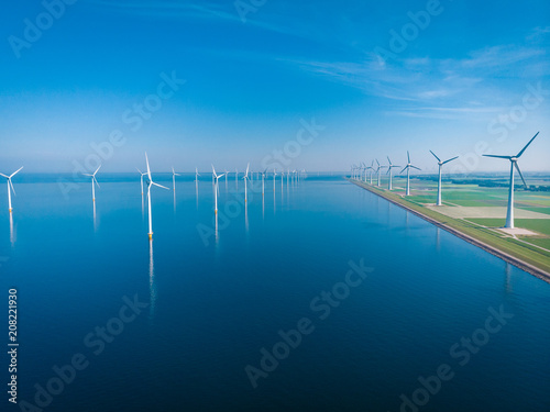 Foto Murales windmill park offshore and onshore windmill farm in the netherlands