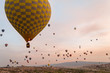 front view of hot air balloons flying over valley of Cappadocia, Turkey