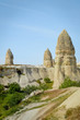 old dwelling and stone formations in valley, Cappadocia, Turkey