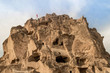 front view of old cave dwellings at Goreme National Park, Cappadocia, Turkey