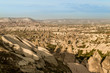 aerial view of cityscape and mountains in Cappadocia, Turkey