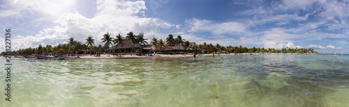 Akumal Beach in Mexico panoramic view from the sea - 208227136