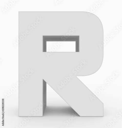 Foto Murales letter R 3d cubic rounded white isolated on white