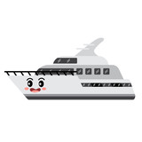 Yacht transportation cartoon character side view isolated on white background vector illustration. - 208229308