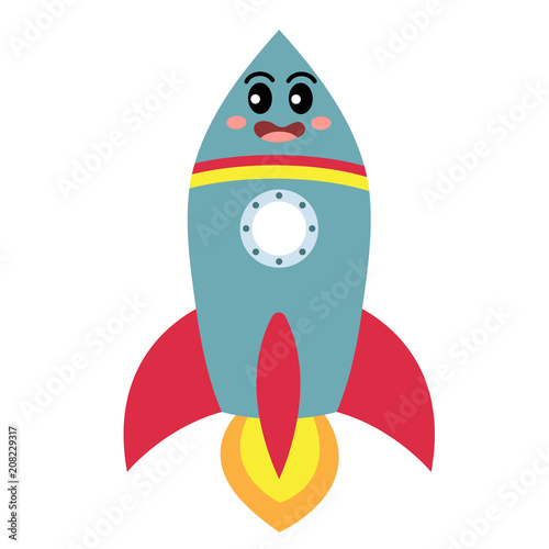 Fototapeta Rocket transportation cartoon character side view isolated on white background vector illustration.
