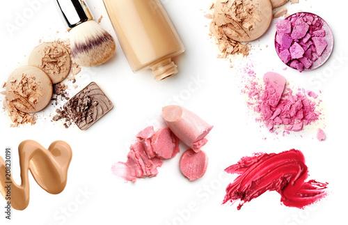 Leinwanddruck Bild make-up cosmetics collection isolated on white background