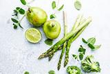 An Arrangement of Green Vegetables,  Fruits and Herbs; flatlay - 208236351