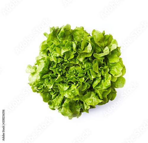 Fresh organic lettuce on white background; flat lay