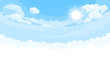 Sky background with sun and white bottom - 208237102
