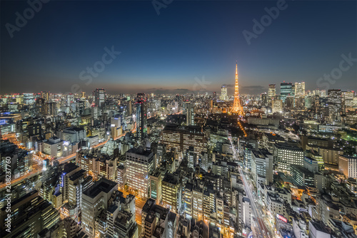 Fotobehang Tokio Tokyo city view with Tokyo Tower at night