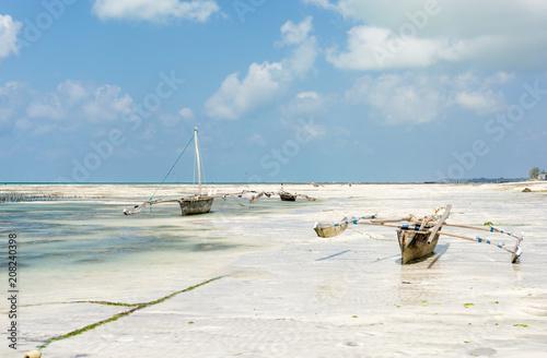 Aluminium Zanzibar Tropical beach at low tide in Jambiani, Zanzibar, Tanzania Africa