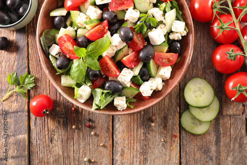 vegetable salad with feta, olive and tomato