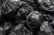 Leinwanddruck Bild - Background garbage bag black bin waste, Garbage dump, Bin,Trash, Garbage, Rubbish, Plastic Bags pile junk garbage Trash texture, Background waste plastic bin bag.