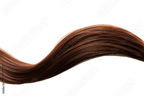 long healthy straight brown hair isolated on white background