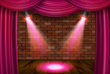 Wooden stage with pink curtains - 208242383