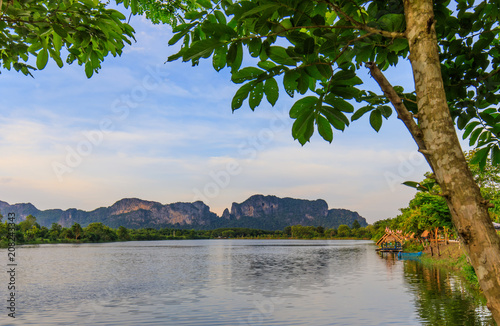 Fotobehang Thailand View of lake and mountain in countryside of Thailand.