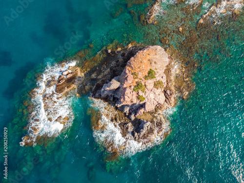 Fotobehang Groen blauw Aerial view of a desert island near the city of Latchi, Cyprus