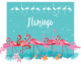 Flamingoes and tropical tropical plants - 208258361