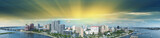 Panoramic aerial view of West Palm Beach skyline at sunset, Florida - USA