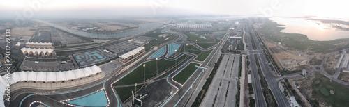 Aluminium Abu Dhabi Panoramic aerial view of Abu Dhabi Yas Island sunset skyline
