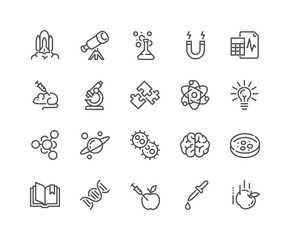 Simple Set of Science Related Vector Line Icons. Contains such Icons as Biology, Astronomy, Physics, Science Test, Lab and more. Editable Stroke. 48x48 Pixel Perfect.