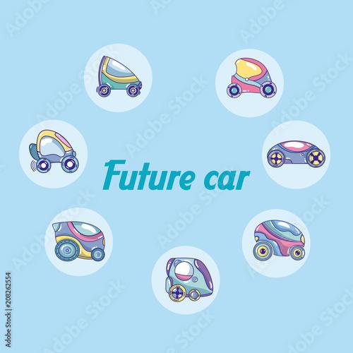 Plexiglas Auto Future cars in round icons