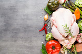 Fresh chicken  meat and vegetables. Flat lay. - 208263301