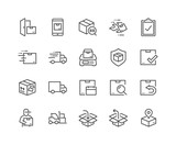 Simple Set of Shipping Related Vector Line Icons. Contains such Icons as Courier, Package Protection, Return and more. Editable Stroke. 48x48 Pixel Perfect. - 208263514
