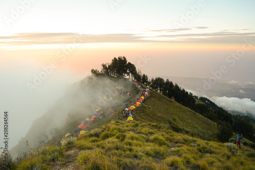 Fotobehang Beige high camp before summiting mount rinjani.