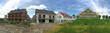 Leinwanddruck Bild - Einfamilienhaus und Reihenhaus Neubauten, Siedlung vor der Stadt