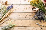 Herb dry, lavender and mortar, workpiece, fragrance, wooden table - 208271174
