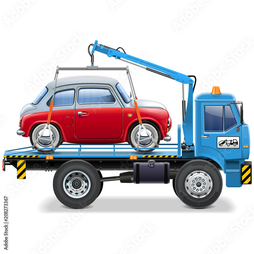 Vector Tow Truck with Automobile