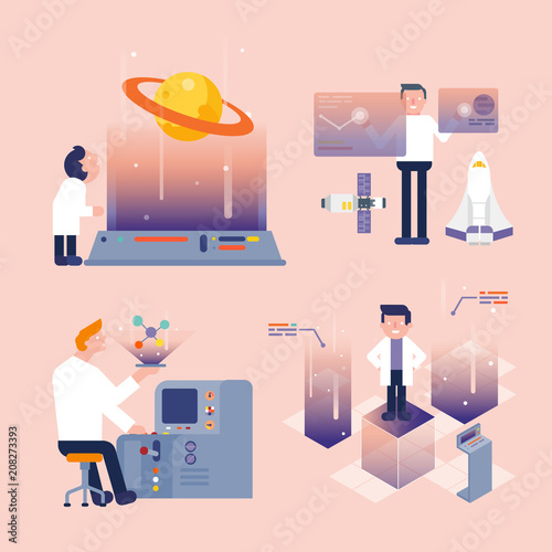scientists research in laboratory/character cartoon of scientists