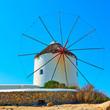 Leinwanddruck Bild - Old windmills of Mykonos