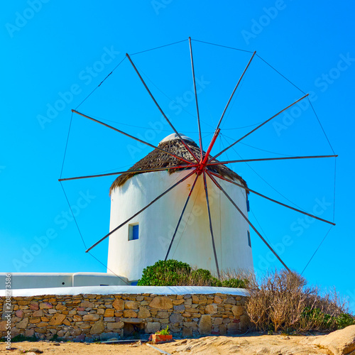 Leinwanddruck Bild Old windmills of Mykonos
