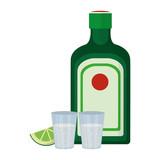 hard liquor bottle and glass beverage with lemon - 208274181