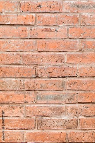 mur z cegły w kolorze czerwonym