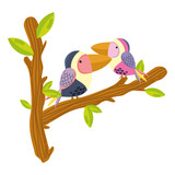 cute bird couple animal in the branches leaves