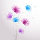 vector background with flowers - 208276923