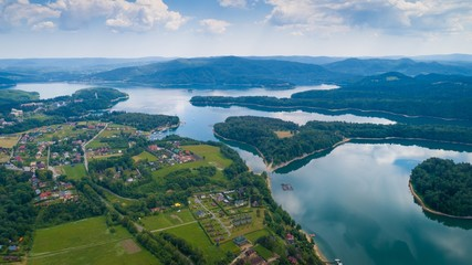 Aerial drone view on beautiful Solina lake in Polish Bieszczady Mountains. © antic