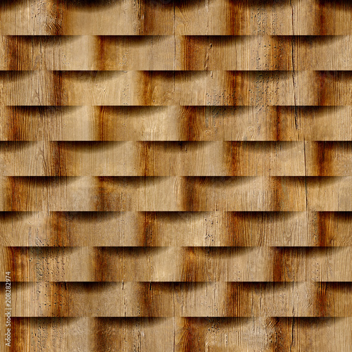 Fototapeta Abstract pattern with linear waves - seamless background - wood texture