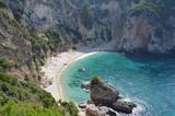 Beautiful Secret Virgin Beach Surrounded by Rocky Cliffs. Corfu Island, Greece - 208283180