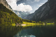 Leinwanddruck Bild - Königssee mit Bergpanorama