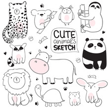 Cartoon Sketch Illustration  Cute Doodle Animals Sticker